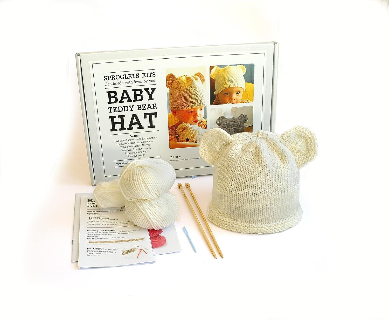 Sproglets Kits Beginner Baby Teddy Hat Knitting Kit - Sizes 0-6 & 6