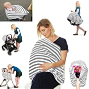 Nursing Carseat Cover Breastfeeding Scarf - Stretchy 4 in 1 - Car Seat Canopy, Shopping Cart Cover, High Chair Cover, infinity scarf nursing apron, Perfect Gift for Pregnant Mothers and Baby Showers
