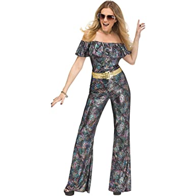 8a5dff70dee Amazon.com  Disco Diva Queen Jumpsuit Adult Women s Costume Retro Boogie  60s 70s Hippie  Clothing