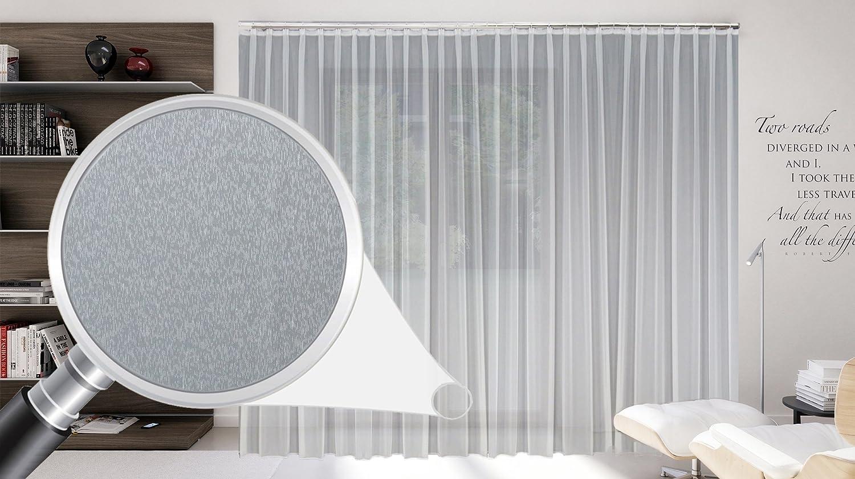 SUNWORLD Maßgeschneiderte weiße Dreher Sablé Store Gardine, inklusive Blei und Automatik Faltenband 1:2,5, 3er Falte, Gardinen nach Maß, Vorhang nach Maß, Höhe 90 – 295 cm(150 x 700 cm/HxB)