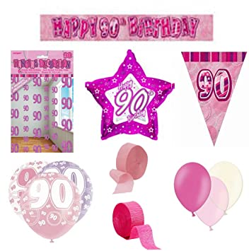 Pink Happy Birthday Banner Party Decorations Pack Kit Set Balloons Glitz Girl