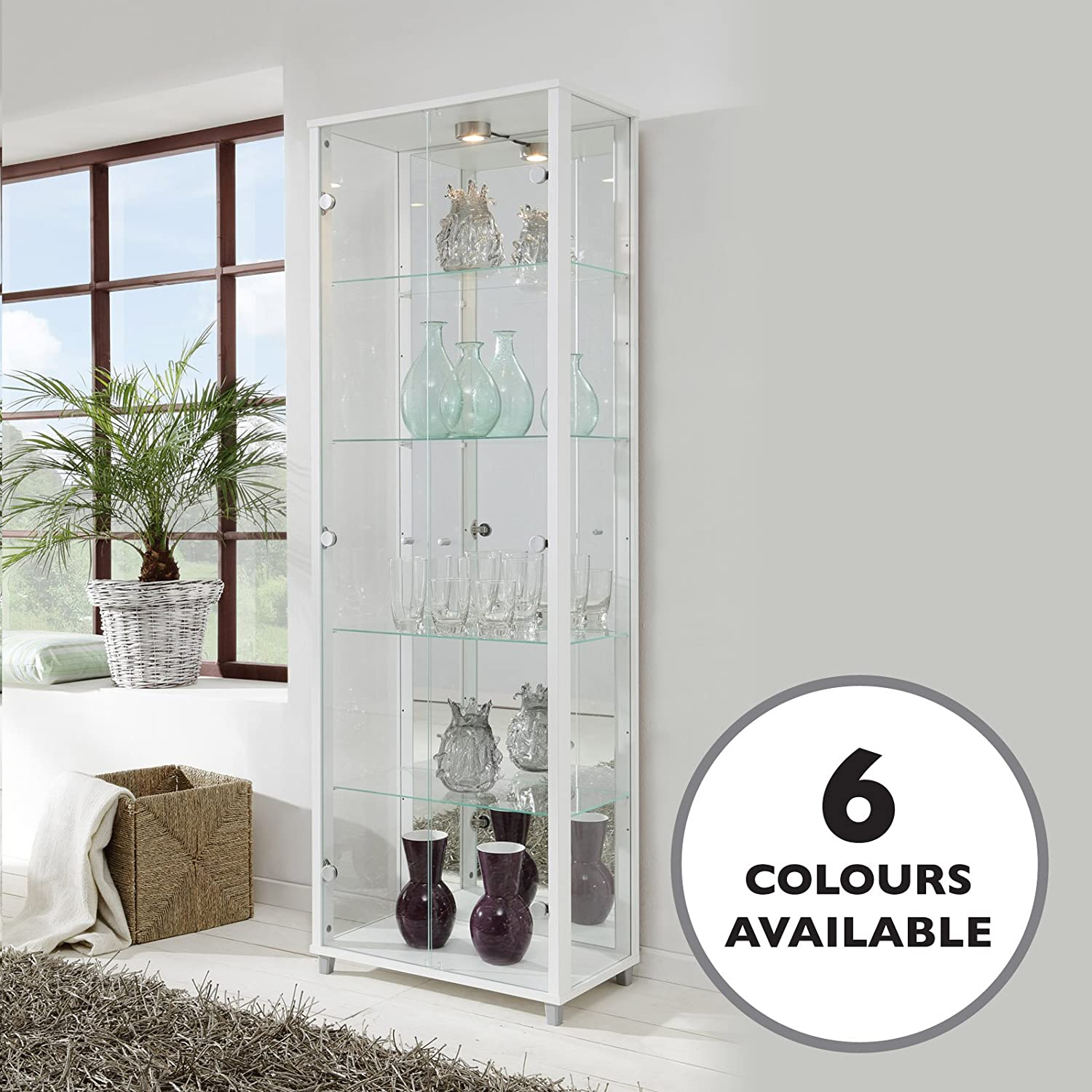 HOME Double Glass Display Cabinet White with Mirror Back, 4 Moveable Glass Shelves, Spotlight, Mirror Back Displaycabinetsuk