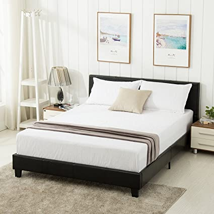 Amazon.com: Mecor Twin Size Panel Bed-Upholstered Faux Leather ...