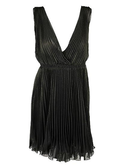 99236262fd Studio M Womens Black Bronze Pleated Shimmer Sleeveless Dress M at Amazon  Women s Clothing store