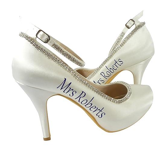 aae0644a10b48 Amazon.com: Royal Blue Mrs Last Name Satin Heels for Wedding Shoes ...