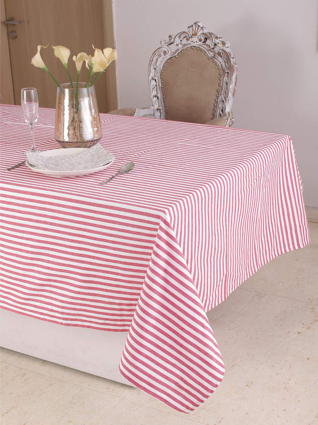 Cotton Square Table Cloth (52 x 52 Inches), Red & White Stripe - Perfect For Spring, Summer, Holidays - Christmas And For Everyday Use