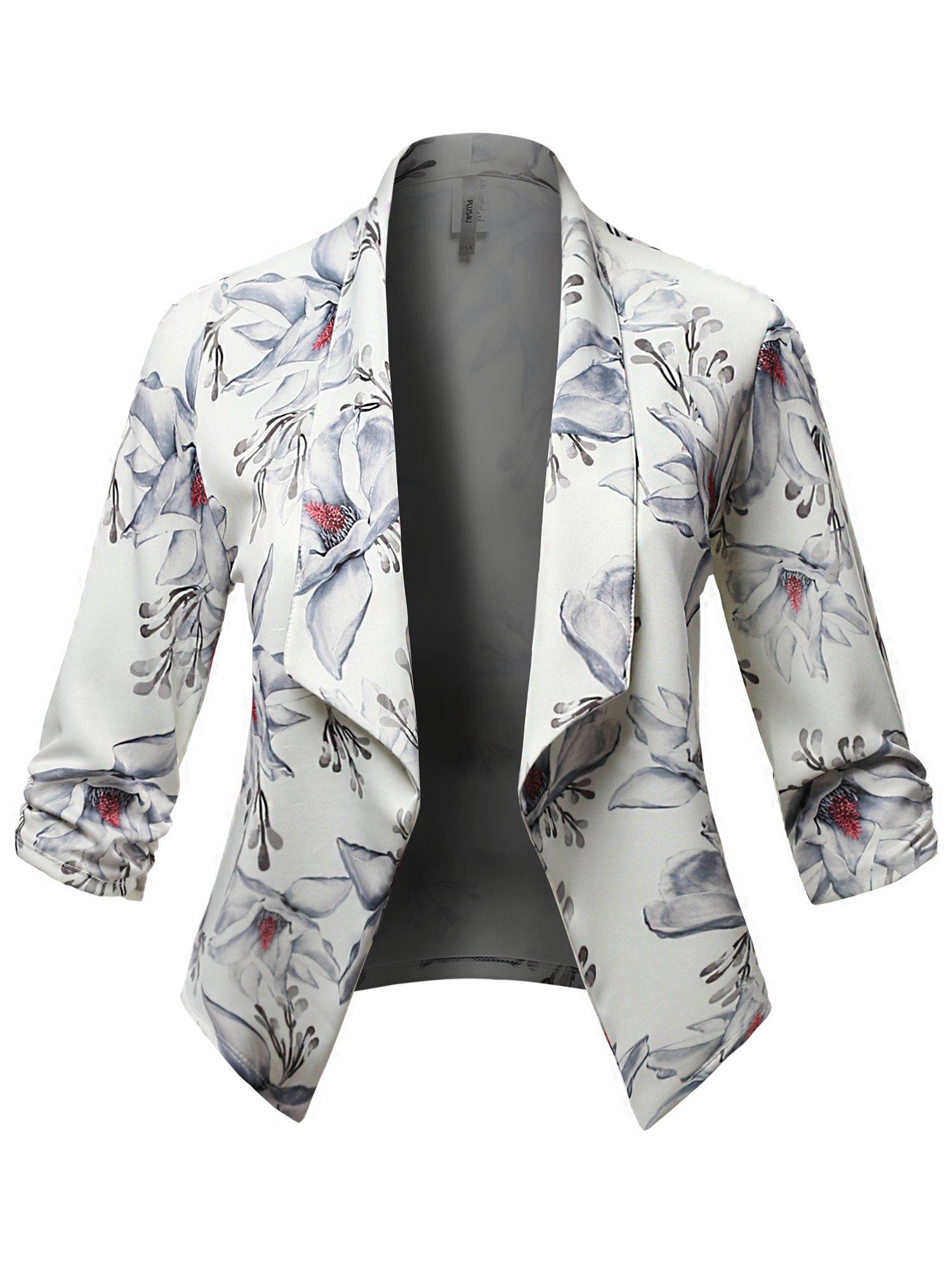 Plus4u Stretch Design Printed 3/4 Shirring Sleeve Open Blazer [1XL-3XL] White Grey 3XL