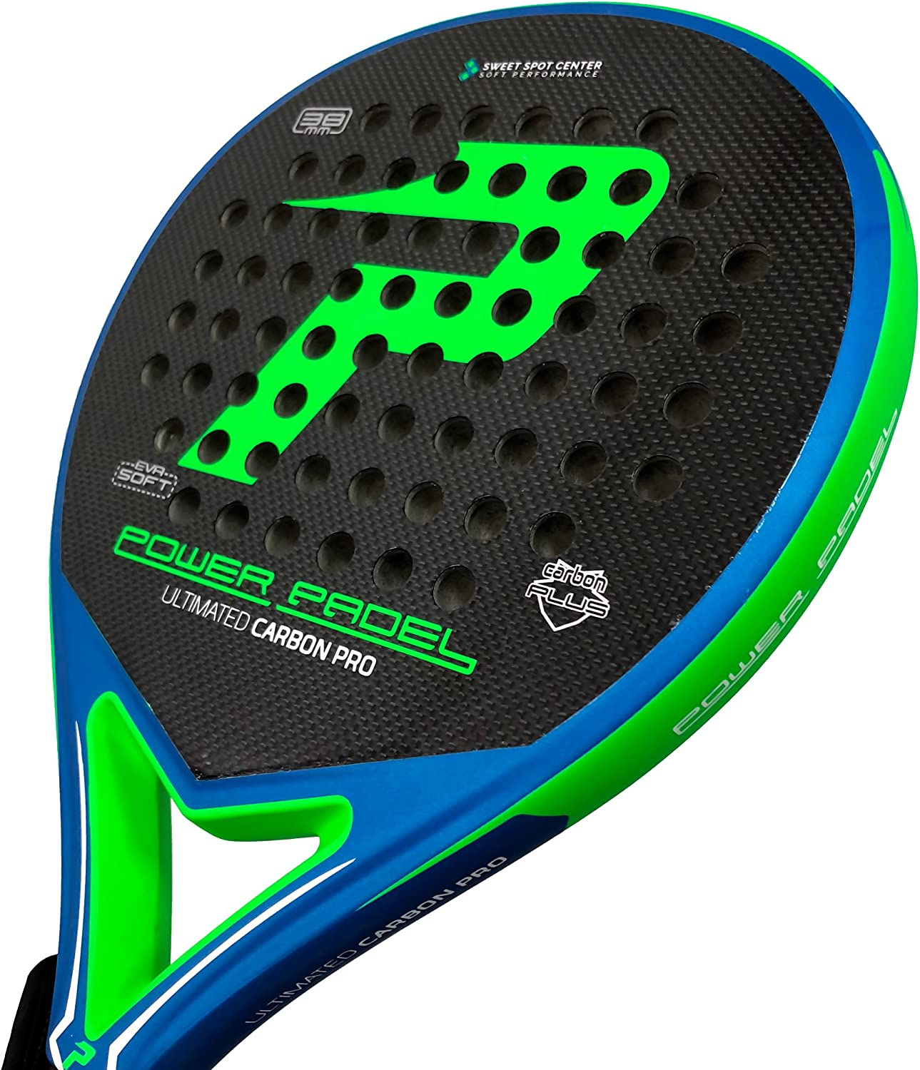 Pala Power Padel Ultimated Carbon Pro Green / Blue Mate