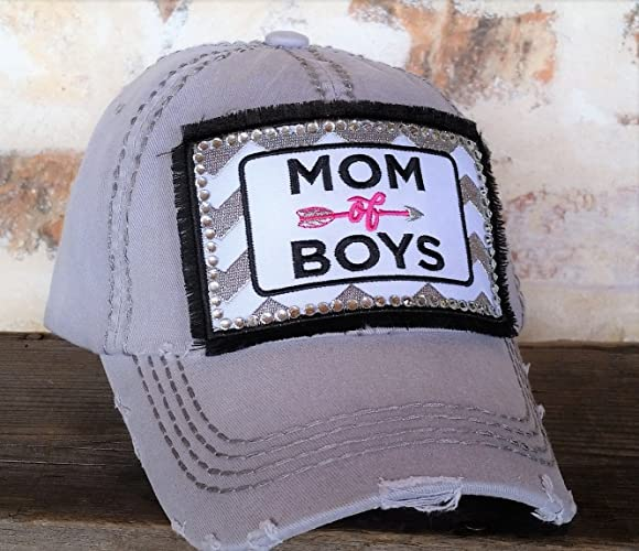Image Unavailable. Image not available for. Color  Loaded Lids Women s Mom  of Boys Rhinestone Embellished Baseball Cap 81cb0deb45a8