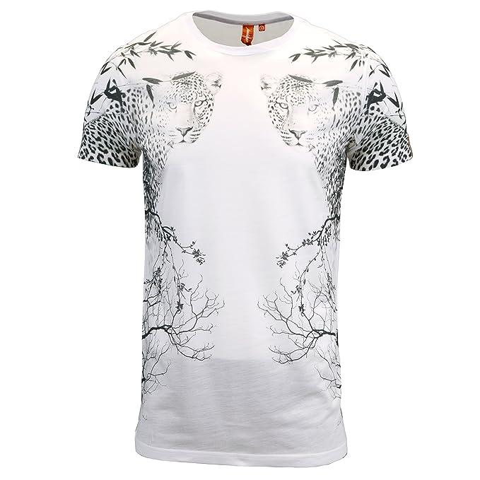 049a5f94 Juice Mens Designer Branded Longline Floral/Tiger Print Regular Fit T-Shirt  (Small, White): Amazon.co.uk: Clothing