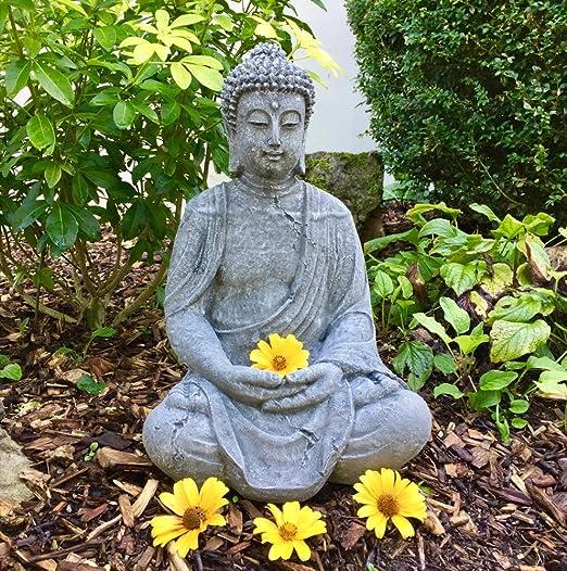 Antikas - Buda meditando Estatua de Piedra - decoración para jardín terraza hogar - Budismo: Amazon.es: Jardín
