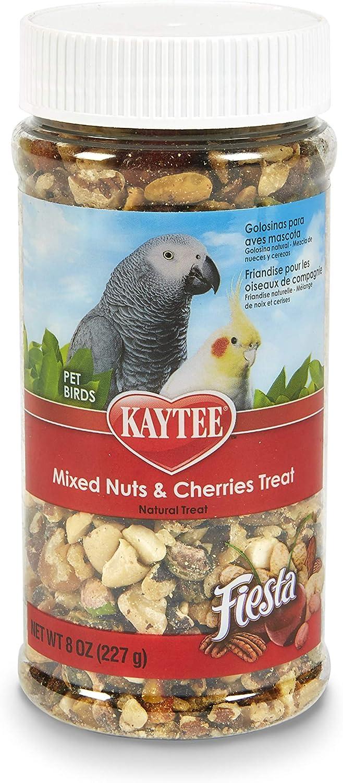 Kaytee Fiesta Mixed Nuts And Cherries Treat For Pet Birds, 8-Oz Jar
