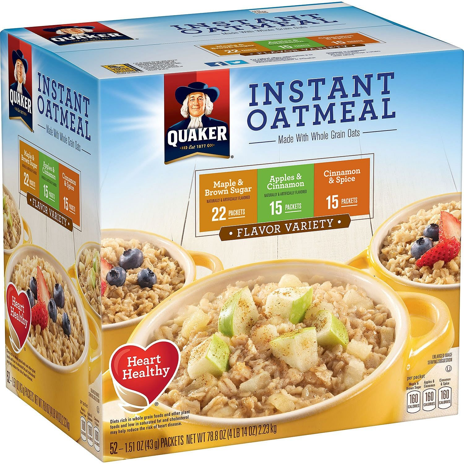 Quaker Instant Oatmeal Variety Pack 52 Pack