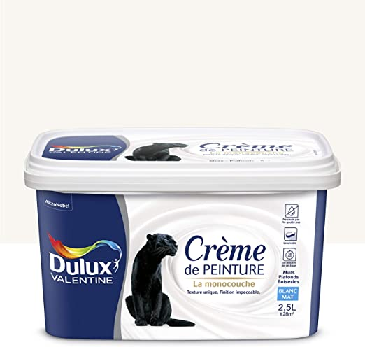 Peinture Monocouche Pour Murs Boiseries Et Plafonds Crème De Peinture Mat Blanc 2 5 L Dulux Valentine