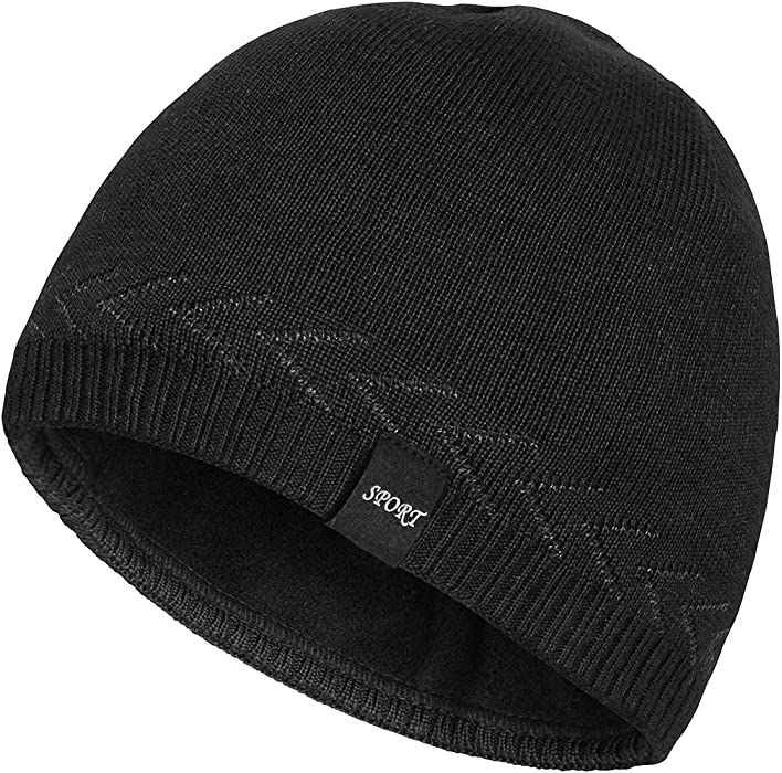 de5708c52df OMECHY Mens Winter Warm Knitting Hats Plain Skull Beanie Cuff Toboggan Knit  Cap