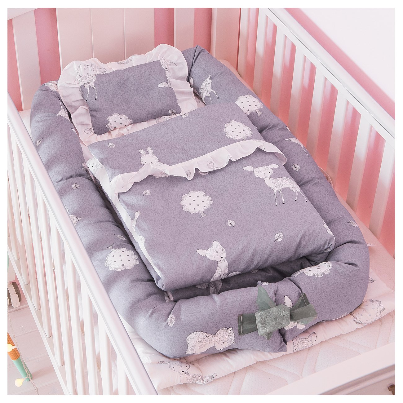 Demon Eight Baby Crib Mattress,Soft Comfortable Portable Baby Crib Bed for Co Sleeping Set 3 in 1,Fit for Newborn 0-24 Month (Gray) by Demon Eight