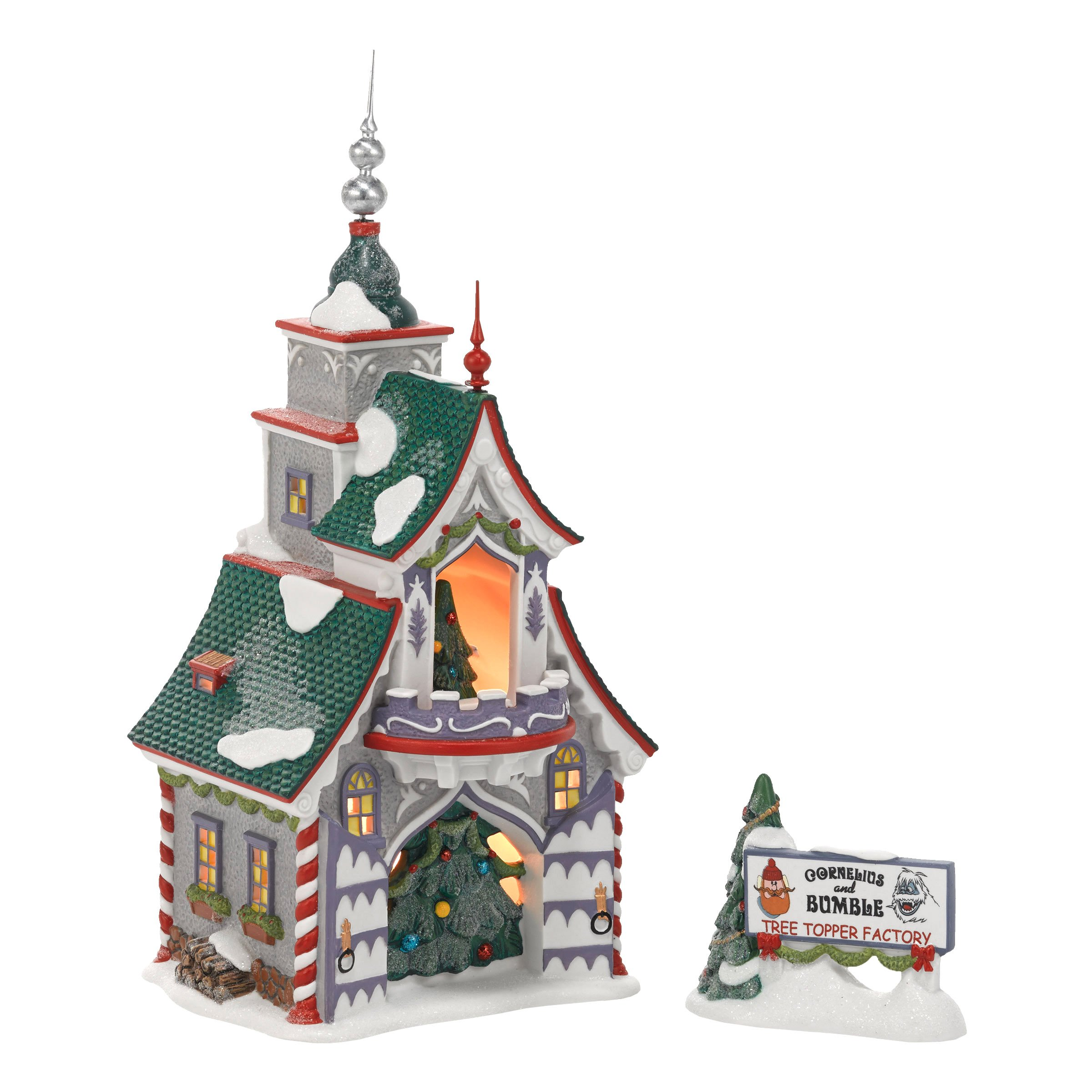 Department 56 North Pole Village Rudolph's S and G Tree Toppers Lit House, 8.66 inch
