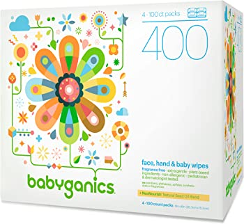 400-Count Babyganics Fragrance Free Face, Hand & Baby Wipes