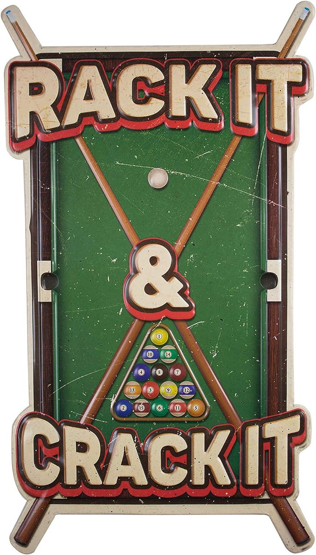 Vintage Rack it Crack it Embossed Metal Wall Decor Sign for Game Room, Bar, Garage or Man Cave