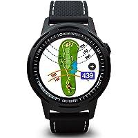 GOLFBUDDY Unisex W10 Golf afstandsmeter, zwarte wijzerplaat (zwart en driekleurig (rood/wit/blauw) armband)
