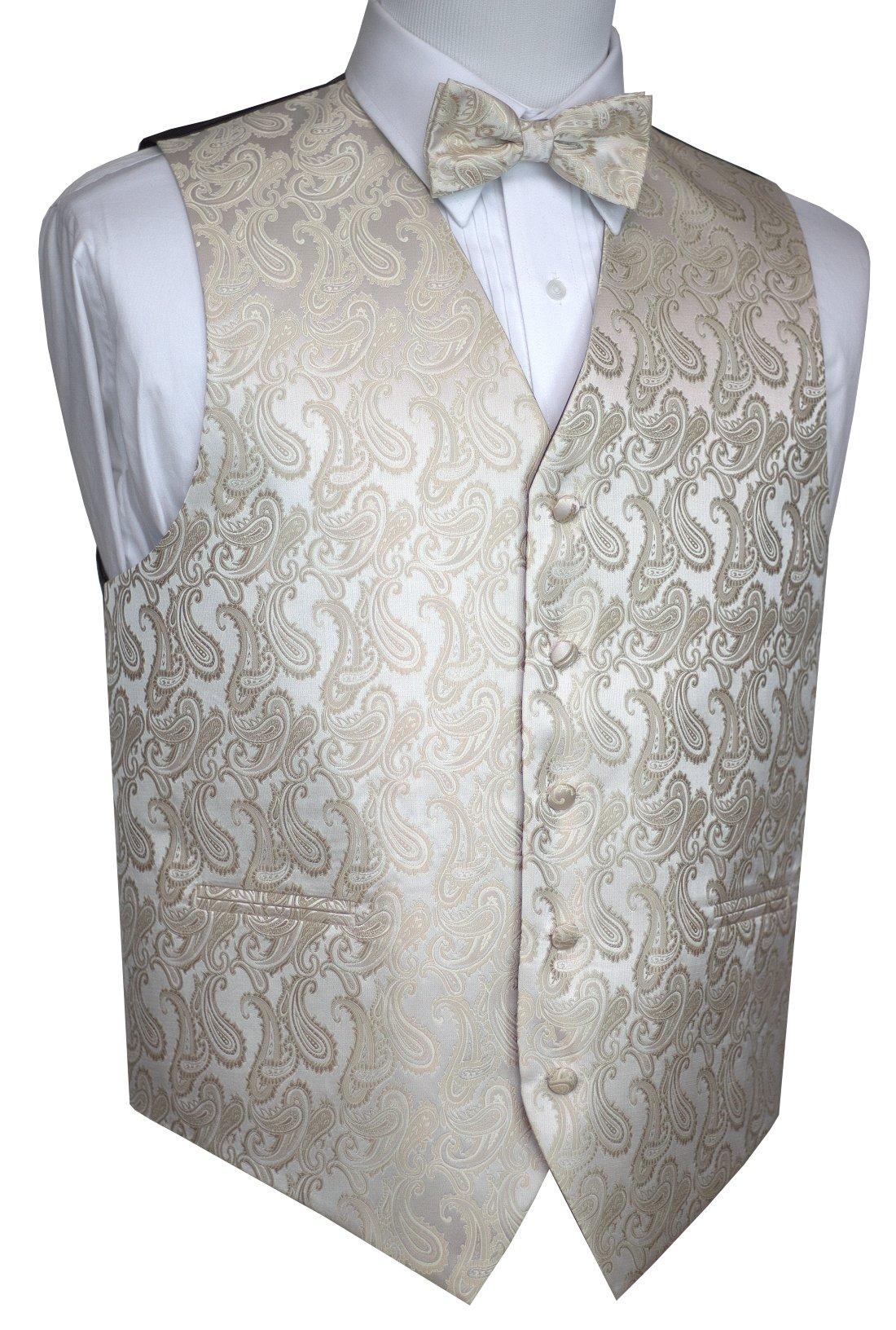 Brand Q Men's Formal, Wedding, Prom, Tuxedo Vest & Bow-Tie Set-Champagne Paisley-L by Brand Q (Image #1)