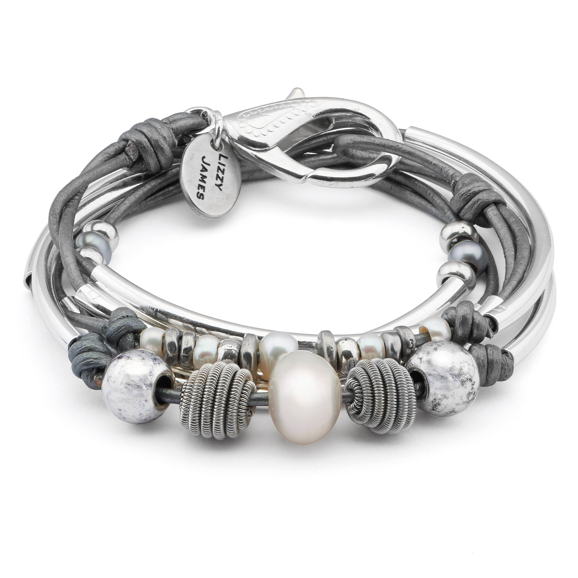 Lizzy James Maribel 2 Strand Wrap Bracelet Necklace in Silver Plate and Metallic Silver Leather with Freshwater Pearl (MEDIUM) by Lizzy James