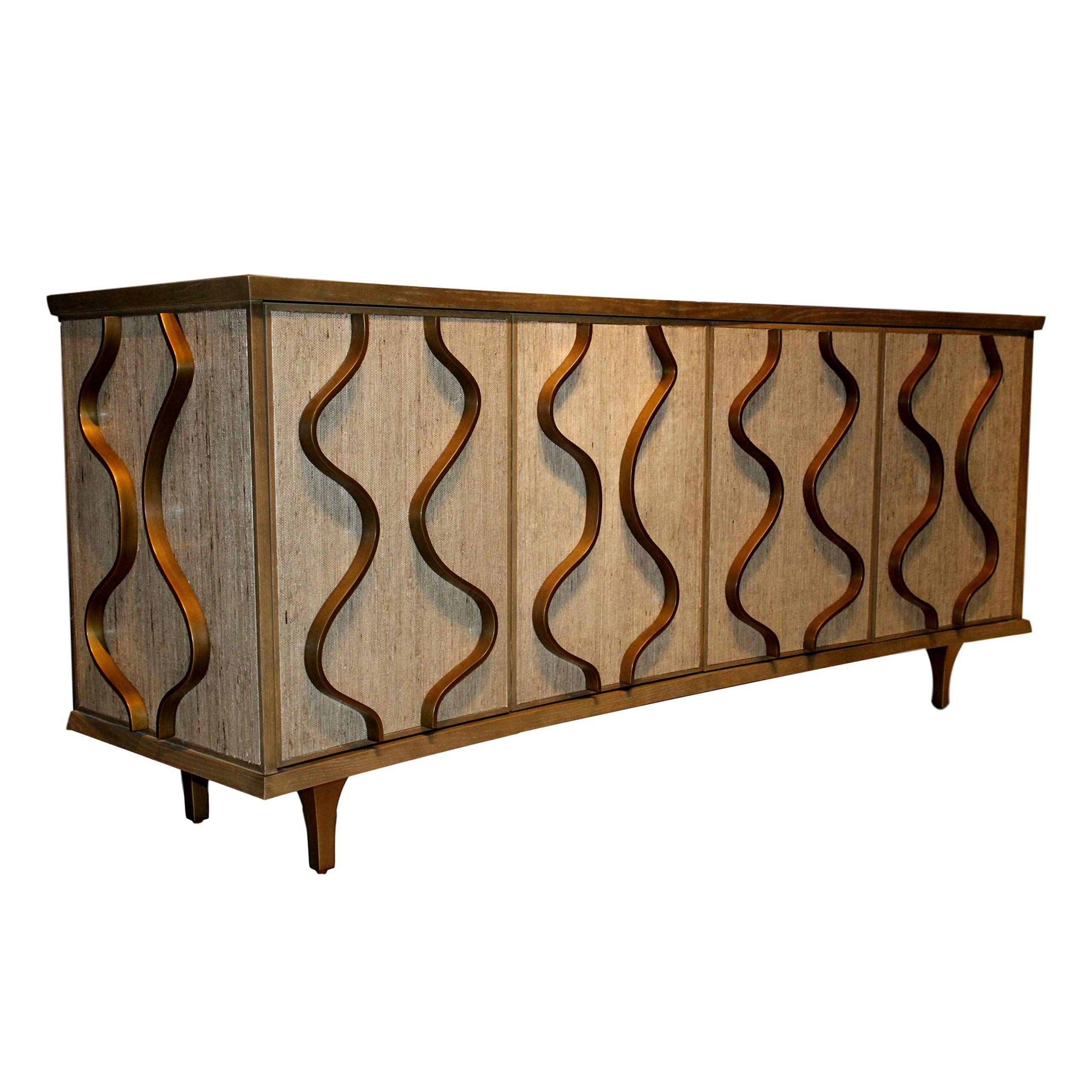 Global Views Elegant Mid Century Modern Curved Media Cabinet | Wood Wave Abstract Sculpted by Global Views