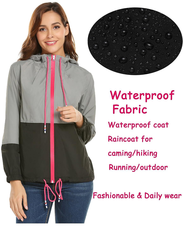 zhenwei Womens Waterproof Rain Jacket Lightwaight Raincoat Windbreaker Outdoor Hooded
