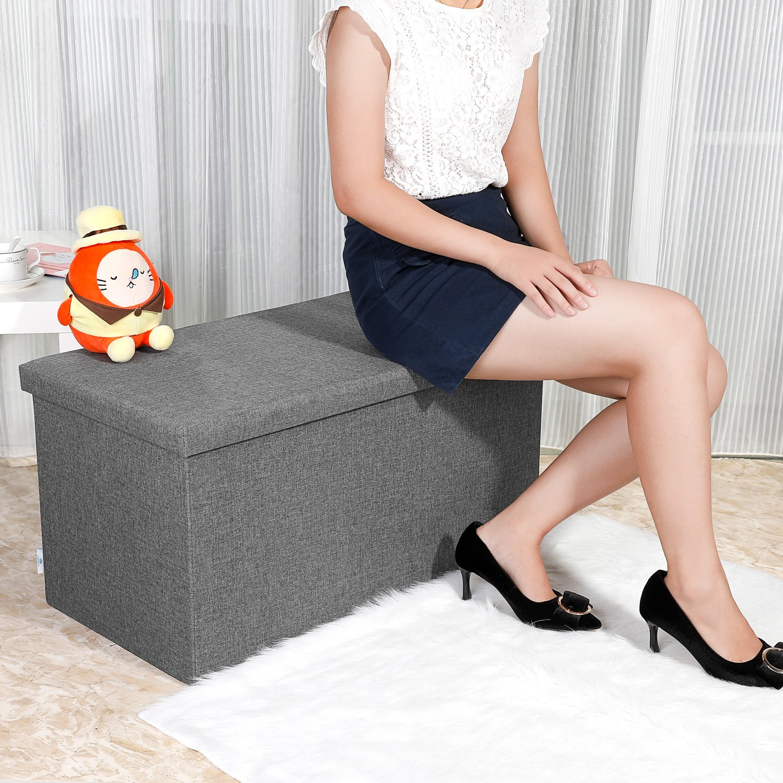 B FSOBEIIALEO Storage Ottoman with Tray Dark Grey 30x15.74x15 Linen Coffee Table Folding Long Shoes Bench Footstool