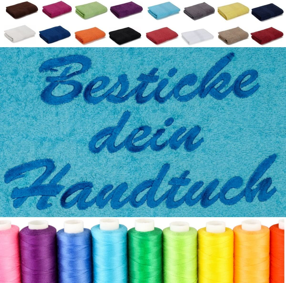 Lashuma Handtuch Blau Handtuch 50x100 Linz Frotteetuch Bestickt mit Monogramm Aquamarin
