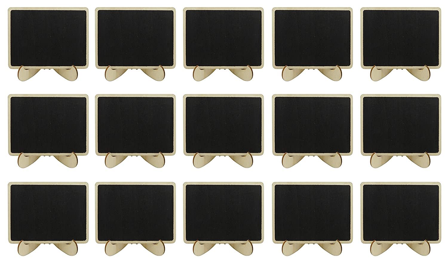 DODOGA 15pcs Mini Chalkboards Signs with Easel Stand, Wood Small Chalkboard Signs Place Cards for Weddings, Parties, Table Top Numbers, Food Signs and Decorating Signs