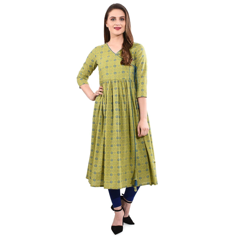 Printed Green Cotton slub Kurti Angrakha Style v Neck