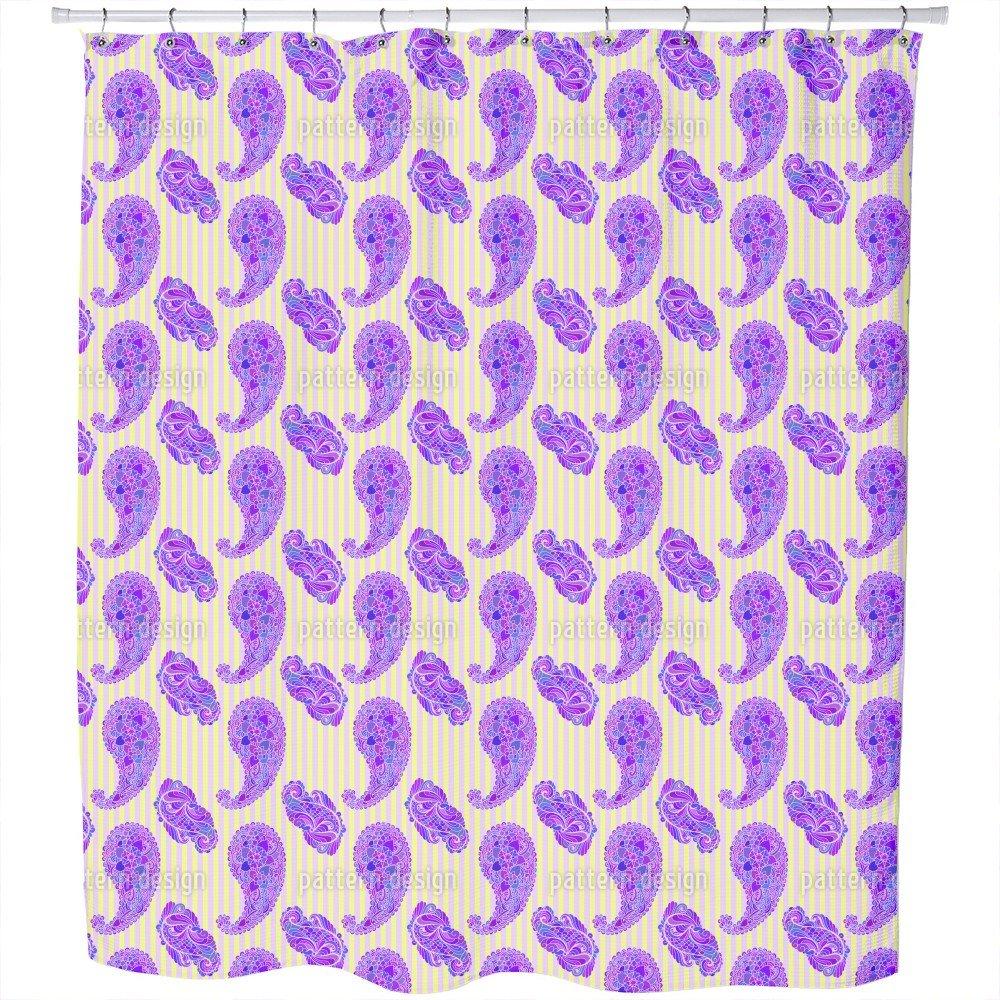 Uneekee Paisleys On Stripes Shower Curtain: Large Waterproof Luxurious Bathroom Design Woven Fabric