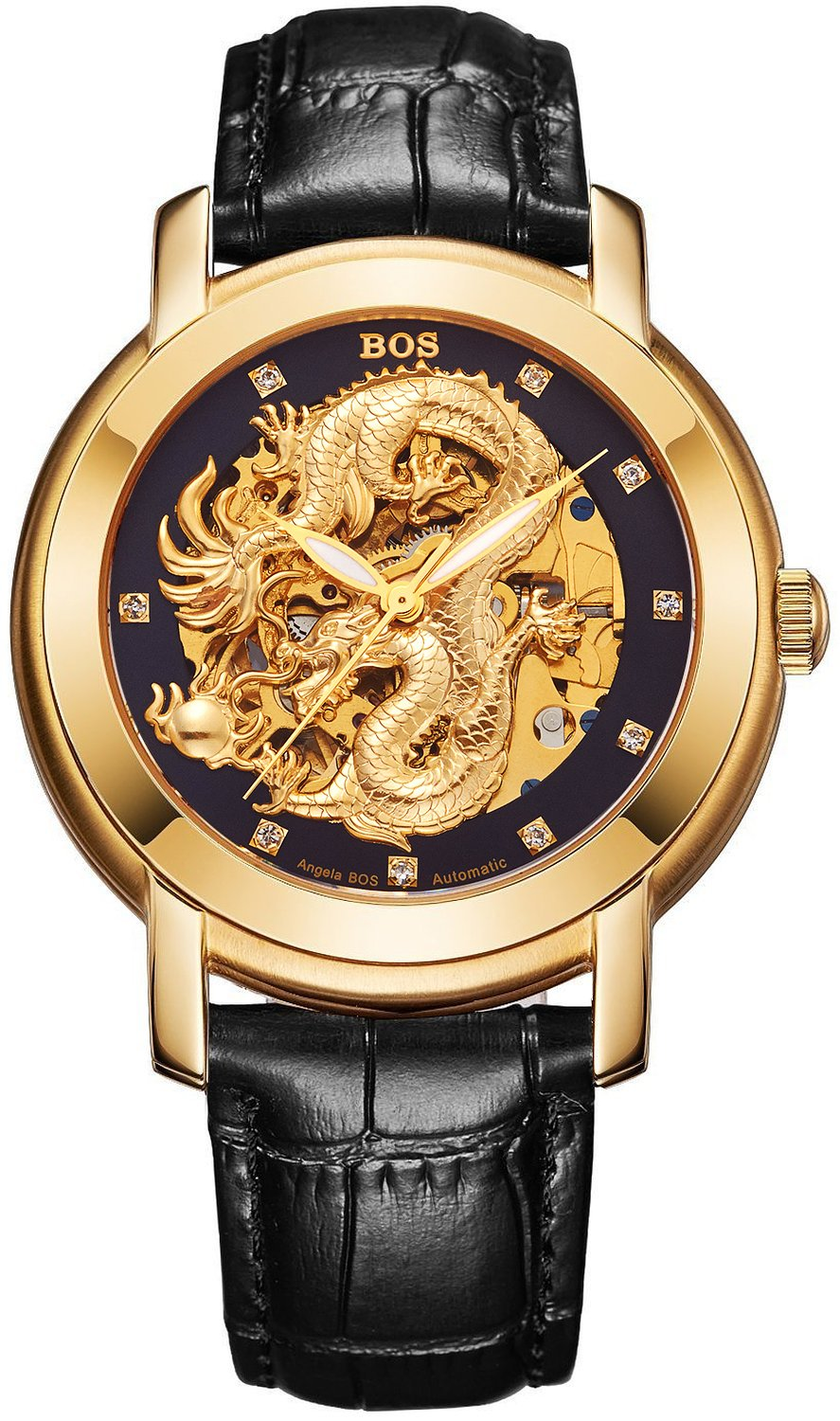 BOS Men's Gold Watch Dragon Carved Luxury Business Watch Automatic Mechanical Stainless Steel Waterproof Watch w/ Calfskin Band