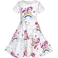 Sunny Fashion Girls Dress Unicorn Rainbow Long Sleeve Casual Dress Size 3-8 Years