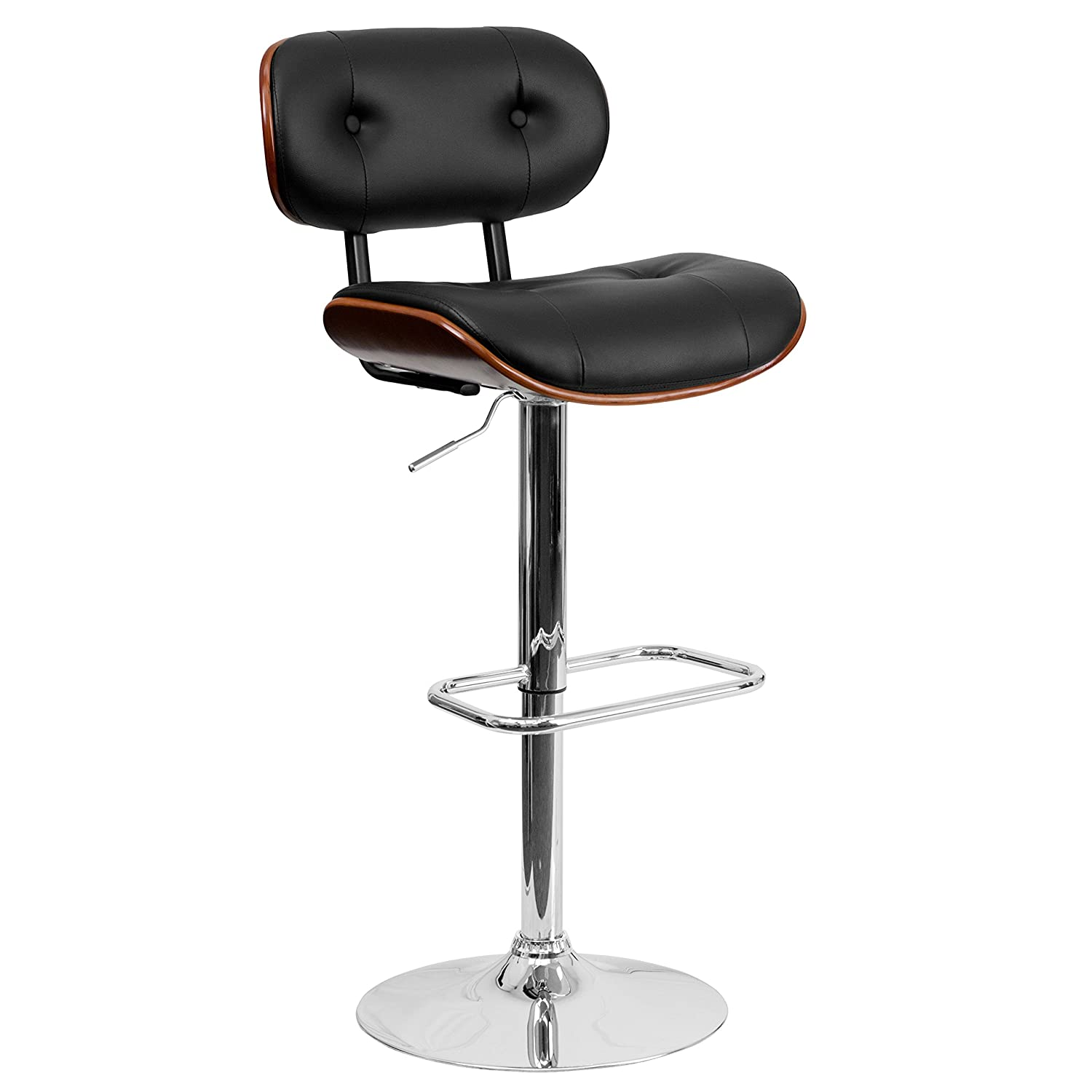 Flash Furniture Walnut Bentwood Adjustable Height Barstool with Button Tufted Black Vinyl Seat -
