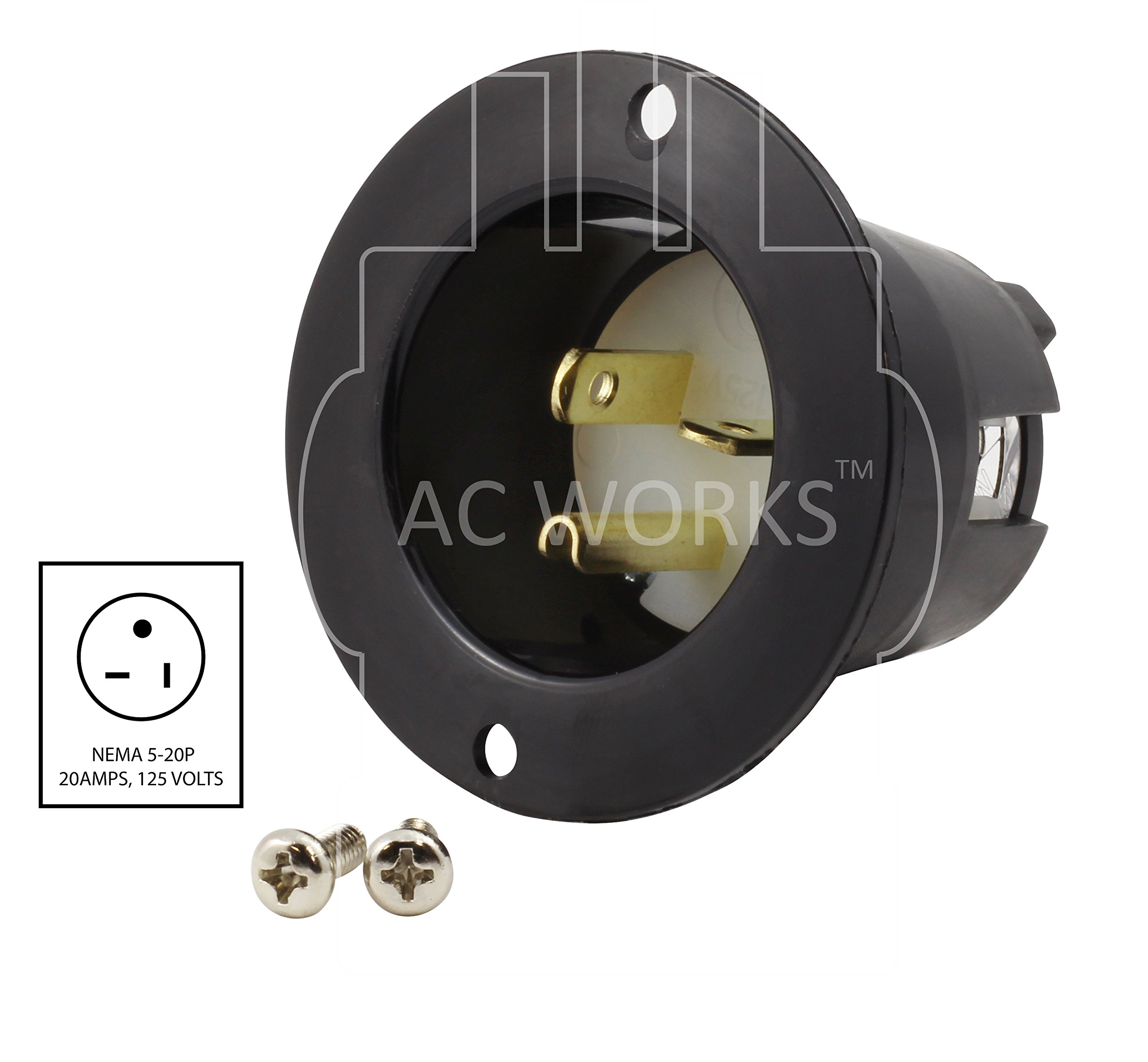 AC WORKS [ASIN520P 20-Amp 125-Volt NEMA 5-20P Flanged Power Input Inlet by AC WORKS (Image #2)