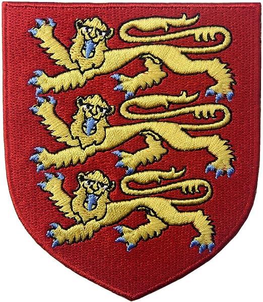 Escudo de armas real de Inglaterra Escudo León Británico Parche Bordado de Aplicación con Plancha: Amazon.es: Hogar