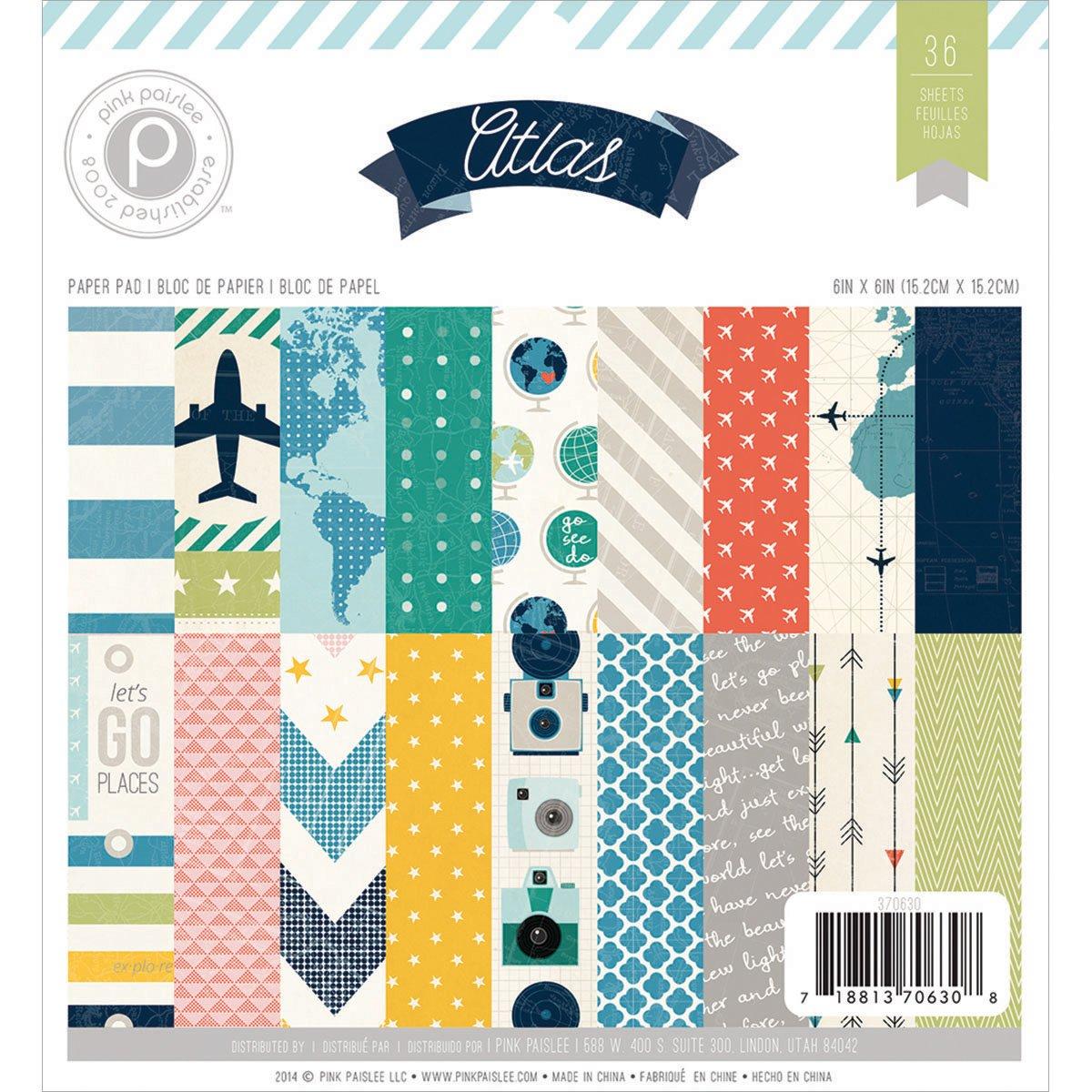 36 Pack American Crafts Pink Paislee Paper Pad 6-Inchx6-Inch Atlas