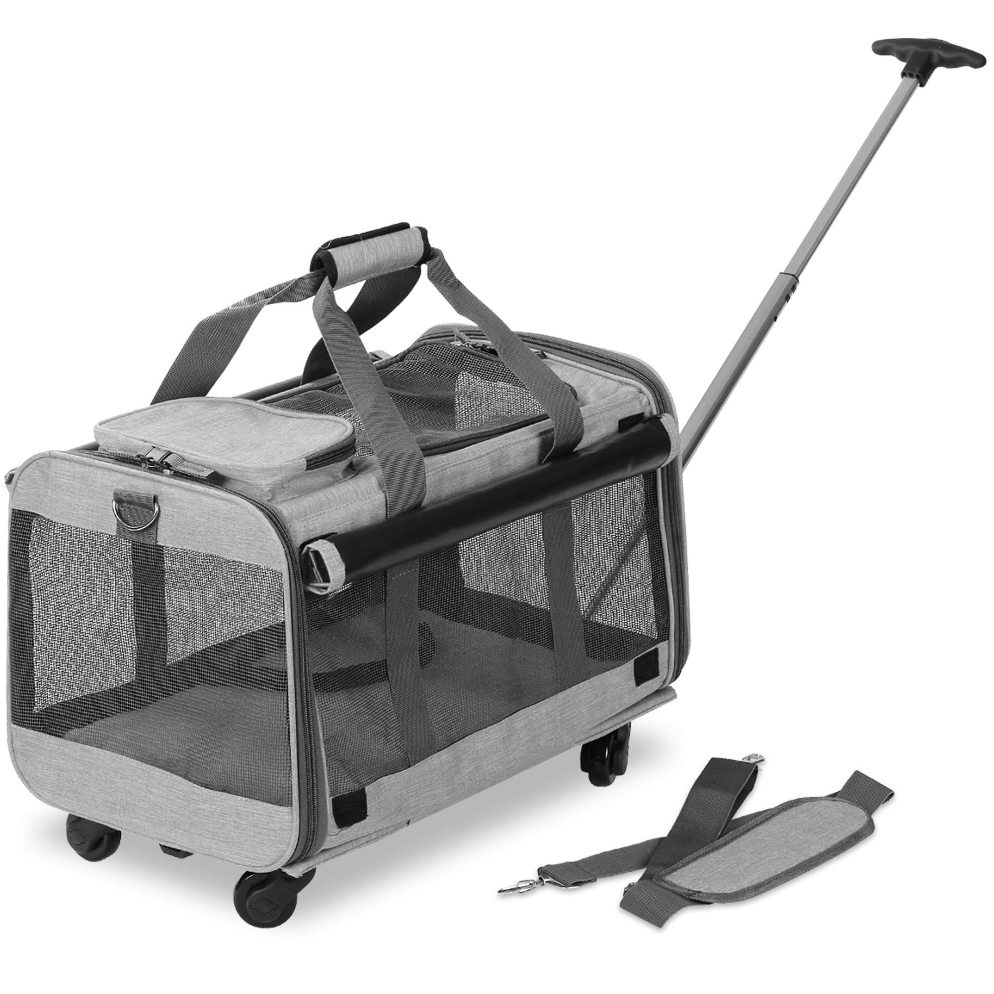 KOPEKS Pet Carrier with Detachable Wheels for Small and Medium Dogs & Cats - Heather Grey