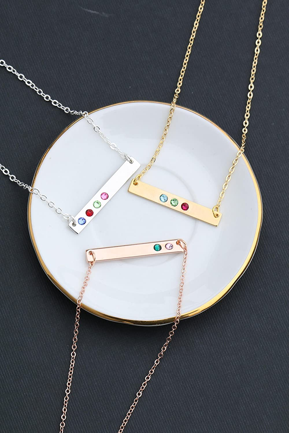 Birthstone Bar Necklace - Choose Crystal Colors, Chain Length, Silver Rose Gold Options - Christmas Mom Gift - DII DBB_20 81TDjbSNn1L