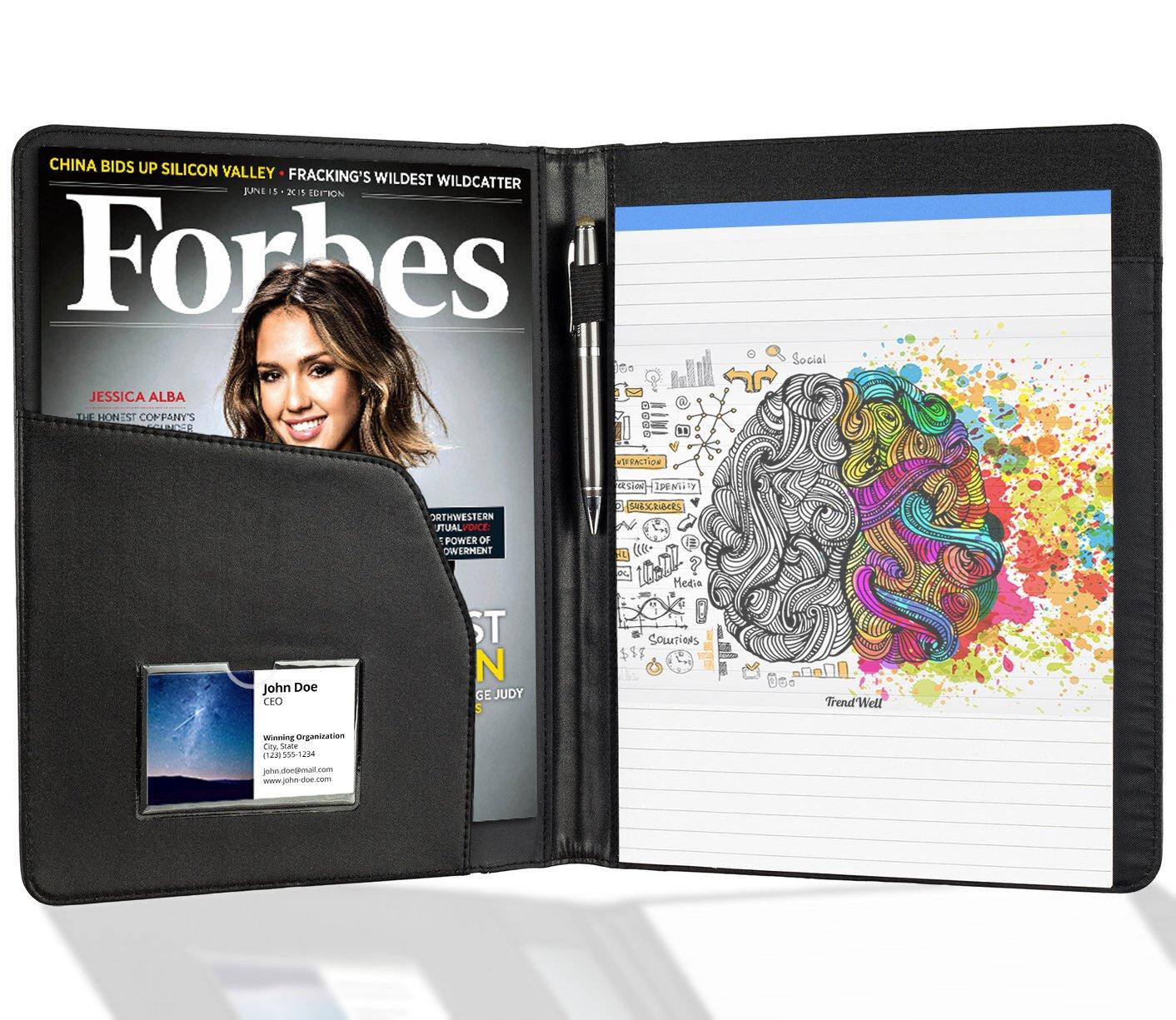 Padfolio / Portfolio Folder - Business Portfolio Organizer - Faux Leather Binder Folio - With 8.5'' x 11'' Writing Pad - Premium Black & Elegant Stitching - Designed For Resumes, Interviews & Business