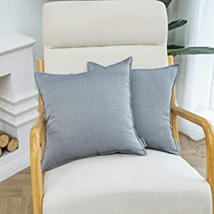 HIARUO Outdoor Pillow Covers, 18''x18'' Garden Patio Waterproof Cushion Case, Bedroom Living Room Decorative Couch Sofa Pillowcases, Set of 2, Grey