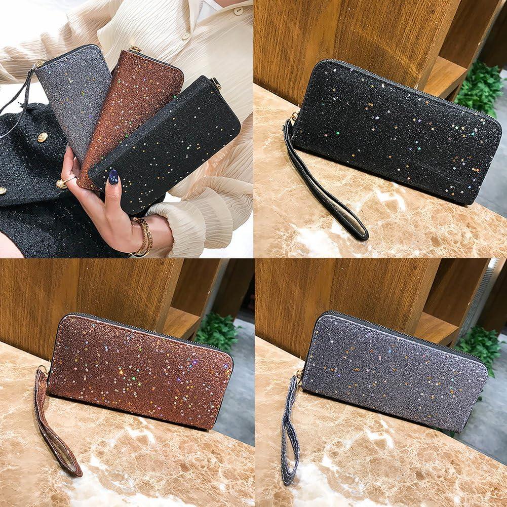 Finance Plan Fashion Sparkling Stars Wallet,Women Faux Leather Zipper Long Wallet Purse,Card Holder