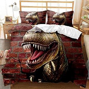 3D Dinosaures Bedding Set Twin Size Tyrannosaurus Rex Duvet Cover for Boys Girls Kids Microfiber Soft 1 Duvet Cover + 1 Pillow Sham