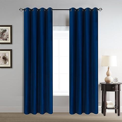 Roslyn home Velvet Room Darkening Thermal Insulated Blackout Grommet Window Curtain for Living Room 2 Panels 50 by 84 Inch Length Navy