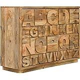 massivum Sideboard JayEdgar 120x85x40 cm aus Mango-Massiv-Holz Braun Lackiert mit 10 Schubladen
