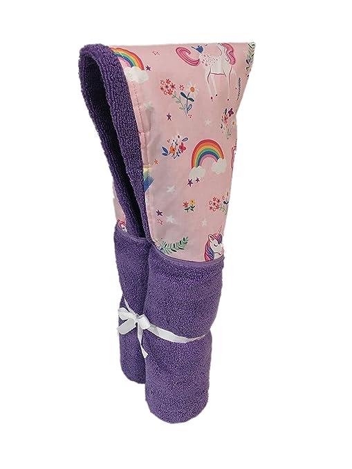 Happy Little Unicorns (y arcoíris) Toalla de lavanda con capucha para niños de 0
