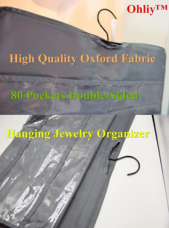 Amazoncom Ohlily Wall Hanging Jewelry Organizer Holder 80 Pockets