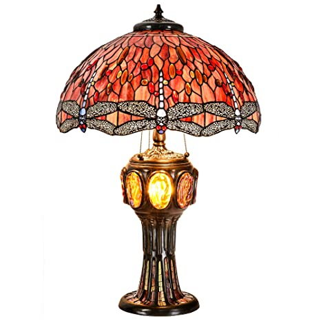 ce05f5aa03df Cloud Mountain Tiffany Style Luxurious Table Lamp Brass Base Victorian Dragonfly  Jeweled Double Lit Desk Lamp Stained Glass Home Decor Lighting - - Amazon.  ...